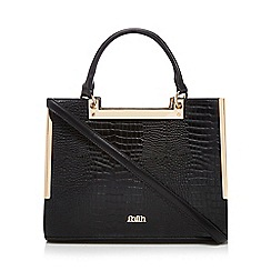 Faith - Black 'Eva' croc-effect tote bag