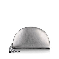 Radley - Medium silver leather 'Half Moon' clutch