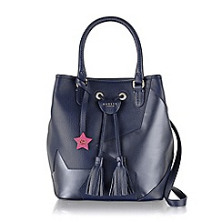 Radley - Large navy leather 'Southern Row Night Shift' grab bag