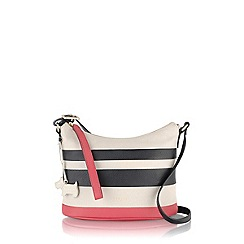 Radley - Black and pink striped Berwick Street small scoop cross body