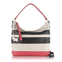 Radley - Black and pink striped Berwick Street medium scoop cross body bag
