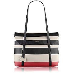 Radley - Black and pink striped Berwick Street medium flapover tote bag