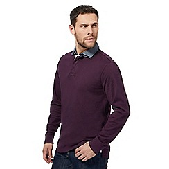 Maine New England - Big and tall plum feeder stripe double collar rugby shirt