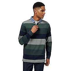 Maine New England - Big and tall dark green block striped rugby shirt