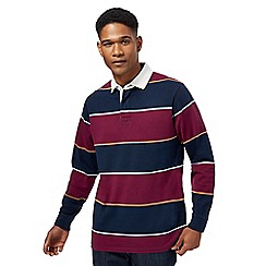Maine New England - Big and tall navy and dark red block striped rugby shirt