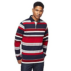 Maine New England - Big and tall red and navy striped rugby shirt