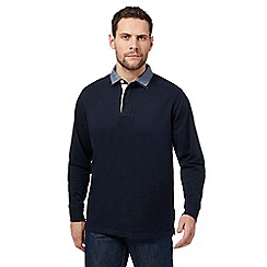 Maine New England - Big and tall navy double collar rugby shirt