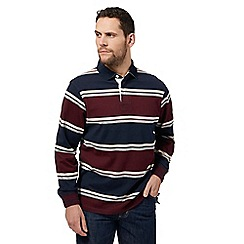 Maine New England - Big and tall maroon stripe long sleeve polo shirt
