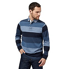 Maine New England - Big and tall blue striped print rugby shirt