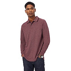 Maine New England - Maroon textured long sleeve polo shirt