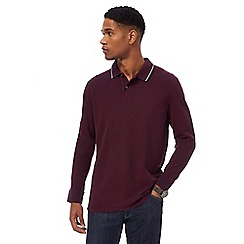 Maine New England - Big and tall maroon tipped long sleeve polo shirt