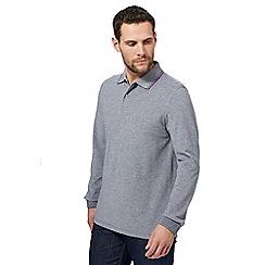 Maine New England - Navy birdseye twin tipped long sleeve polo shirt