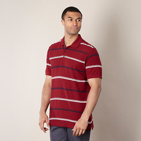 Maine New England - Dark red double tram striped polo shirt