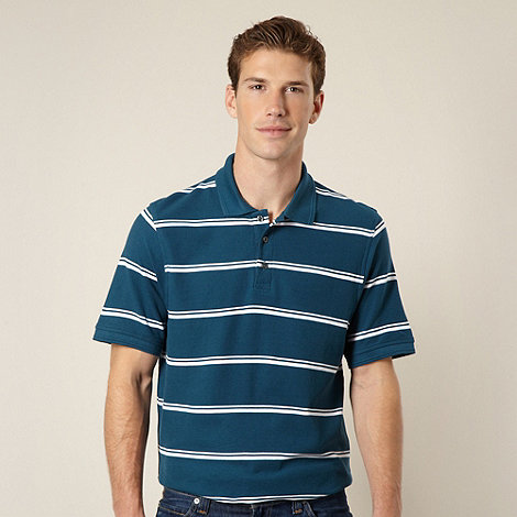 Maine New England - Dark turquoise double tram striped pique polo shirt