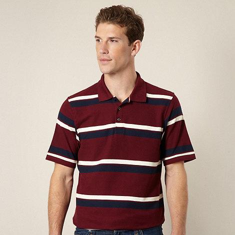 Maine New England - Dark red shadow striped pique polo shirt