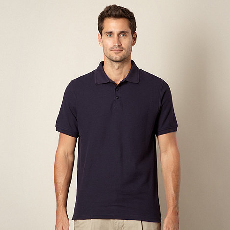 Maine New England - Navy plain pique polo shirt