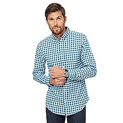 Maine New England - Dark turquoise gingham print tailored fit Oxford shirt