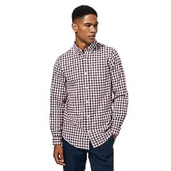 Maine New England - Dark red gingham print tailored fit Oxford shirt