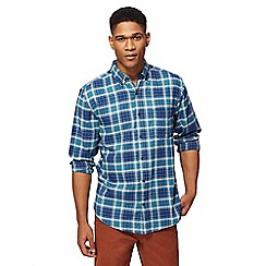 Maine New England - Big and tall dark turquoise long sleeve worker check shirt