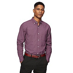 Maine New England - Big and tall dark purple mini checked shirt
