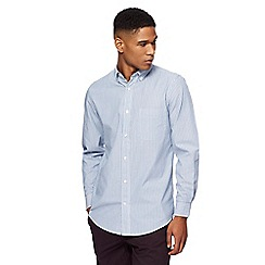 Maine New England - Big and tall light blue striped tailored fit shirt