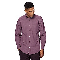 Maine New England - Big and tall dark purple mini checked tailored fit shirt
