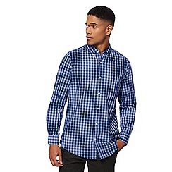 Maine New England - Big and tall blue checked tailored fit shirt