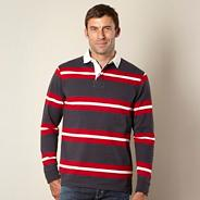 Grey two tone striped rugby shirt