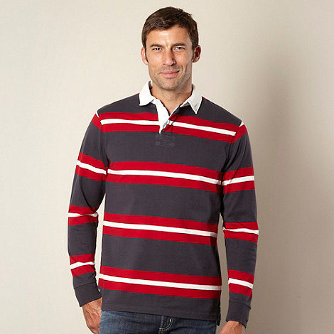 Maine New England - Big and tall grey two tone striped rugby shirt