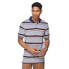 Maine New England - Mid blue Cardiff stripe polo shirt