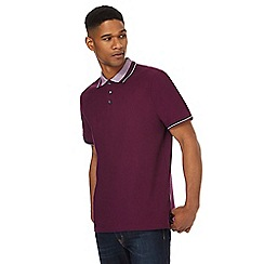 Maine New England - Big and tall purple jacquard collar polo shirt