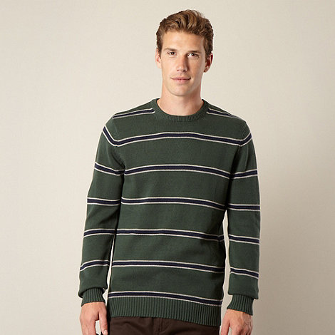 Maine New England - Big and tall green block striped jumper