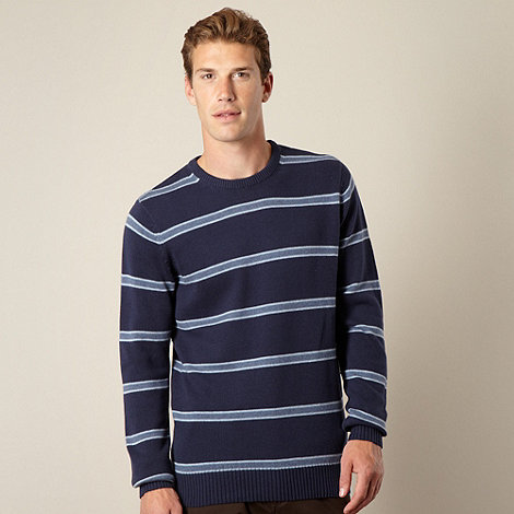 Maine New England - Big and tall dark blue block striped jumper