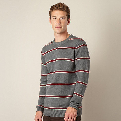Maine New England - Big and tall grey block striped jumper