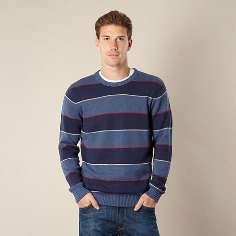 Maine New England - Big and tall blue block striped crew neck jumper