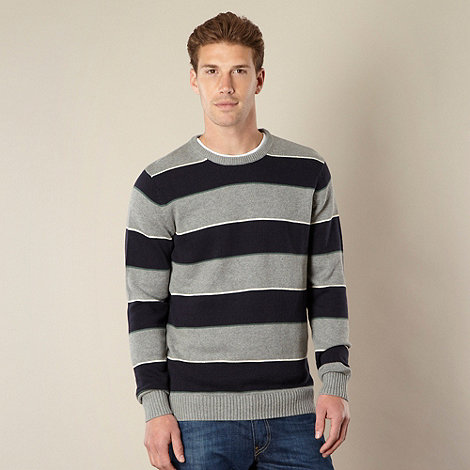 Maine New England - Big and tall grey block striped crew neck jumper