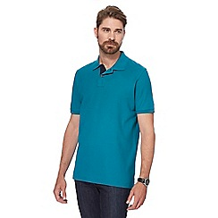 Maine New England - Big and tall dark turquoise contrast placket pique polo shirt