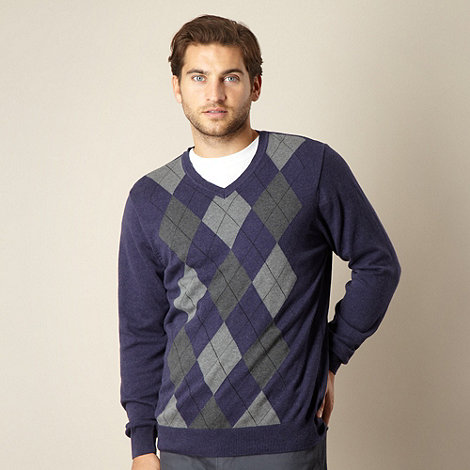 Maine New England - Navy argyle V neck jumper
