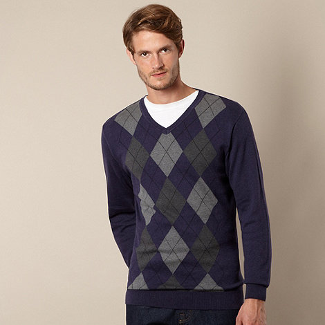 Maine New England - Dark purple argyle V neck jumper