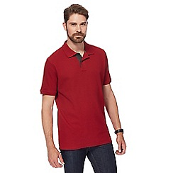 Maine New England - Dark red contrast placket pique polo shirt