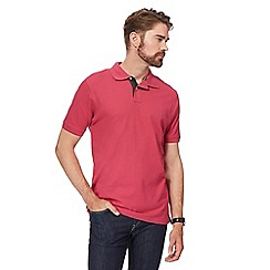 Maine New England - Dark pink contrast placket polo shirt