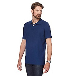 Maine New England - Big and tall dark blue contrast placket polo shirt