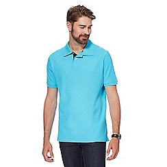 Maine New England - Bright turquoise contrast placket polo shirt