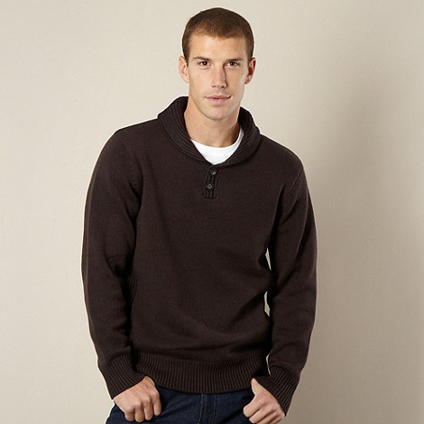 Maine New England - Dark brown shawl neck jumper