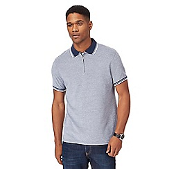Maine New England - Navy textured zip neck tailored fit polo shirt