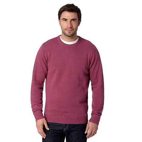 Maine New England - Big and tall mid Rose plain ribbed crew neck jumper