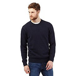 Maine New England - Big and tall navy plain ribbed crew neck jumper