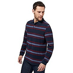 Maine New England - Navy bedstone striped long sleeve polo shirt