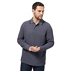 Maine New England - Navy grindle long sleeve polo shirt