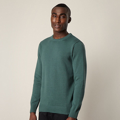 Maine New England - Light green plain ribbed crew neck jumper